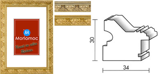 Barock Holz Bilderrahmen M75 Antireflexglas 24x30