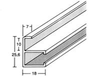 Alurahmenprofil M10 7mm breit 25,6mm hoch