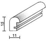 Holzrahmenprofil M20 11mm breit 15mm hoch