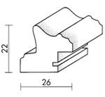 Holzrahmenprofil M21 26mm breit 22mm hoch