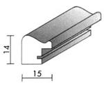 Holzrahmenprofil M22 15mm breit 14mm hoch