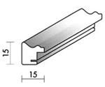 Holzrahmenprofil M26 15mm breit 15mm hoch