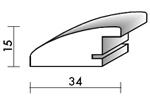 Holzrahmenprofil M29 34mm breit 15mm hoch