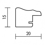 Holzrahmenprofil M38 20mm breit 15mm hoch