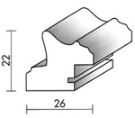 Holzrahmenprofil M43 26mm breit 22mm hoch