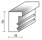 Holzrahmenprofil M58 18mm breit 26mm hoch