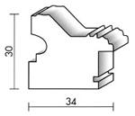 Holzrahmenprofil M75 34mm breit 30mm hoch