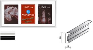 Galerierahmen Aluminium M11 25x50 PP4 3x 13x18