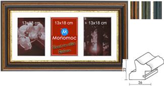 Galerierahmen Holz M21 25x50 PP4 3x 13x18
