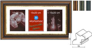 Galerierahmen Holz M21 25x60 PP7 3x 15x20